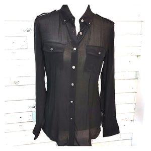 Banana Republic SILK sheer button down shirt sz 4